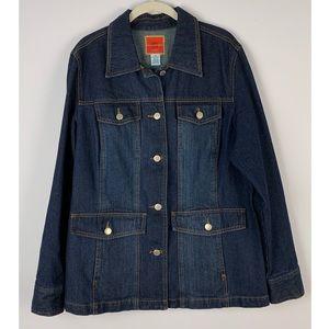 ISAAC MIZRAHI Button Front Jean Jacket XL